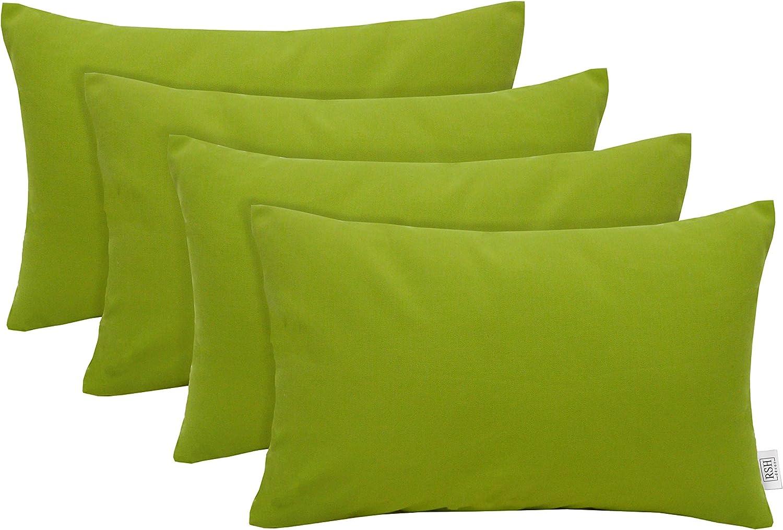 Set Of 4 Indoor Outdoor Decorative Rectangle Lumbar Throw Pillows Sunbrella Canvas Macaw Green 20 X 12 Kitchen Dining