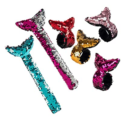 6 Piece Reversible Flip Sequin Mermaid Tail Slap Bracelets for Kids: Toys & Games