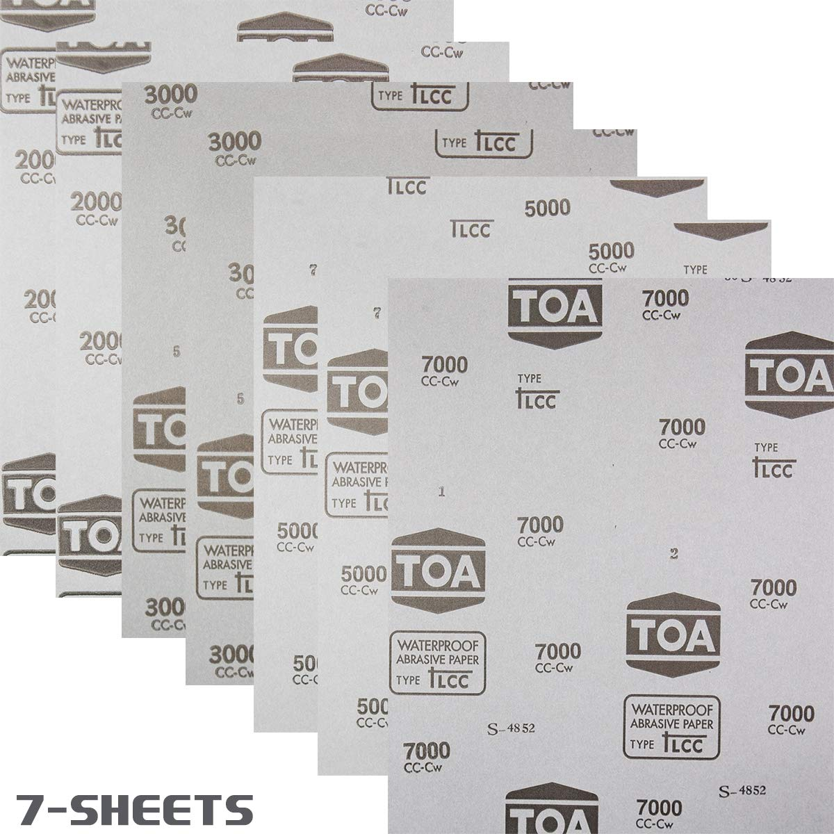 7-Sheets Premium Professional Thailand Polishing Sanding Wet//Dry Waterproof Abrasive Sandpaper Grit 2000 3000 5000 7000 Flexible Latex Model TOAPC 991A