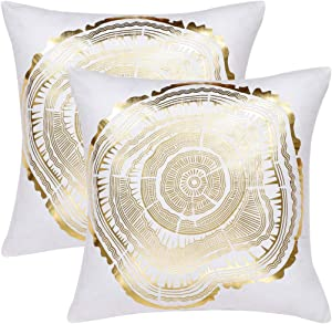 uxcell Bronzing Home Pillowcase 18x18 Inch Decorative Cushion Pillow Cover Couch Gold Print Throw Pillow Covers Set of 2, Annual Ring