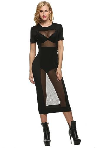 Zeagoo Womens Sexy Short Sleeve Mesh See Through Bodycon Club Mini Dress
