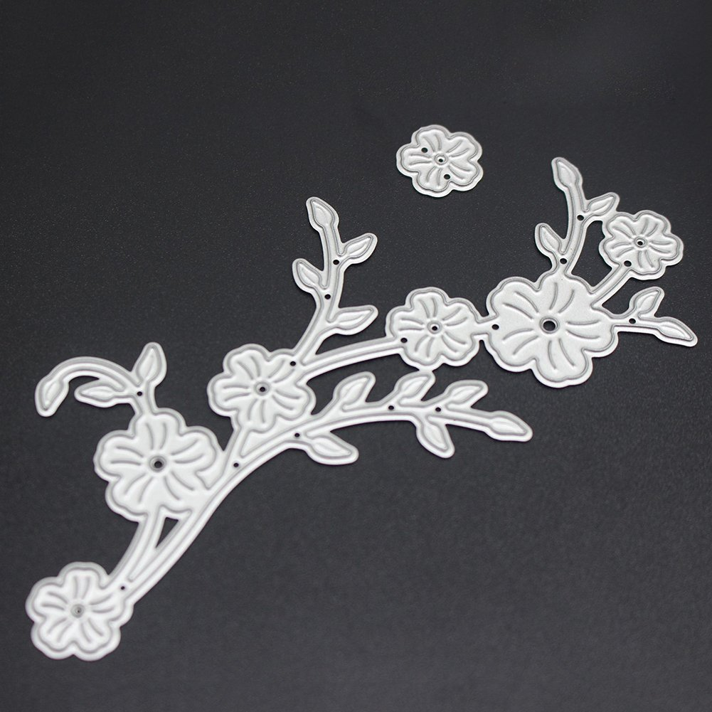 Demiawaking Flower Twig Cutting Dies Stencil Frame DIY Decoration Embossing Template for Scrapbooking Album Paper Card Making