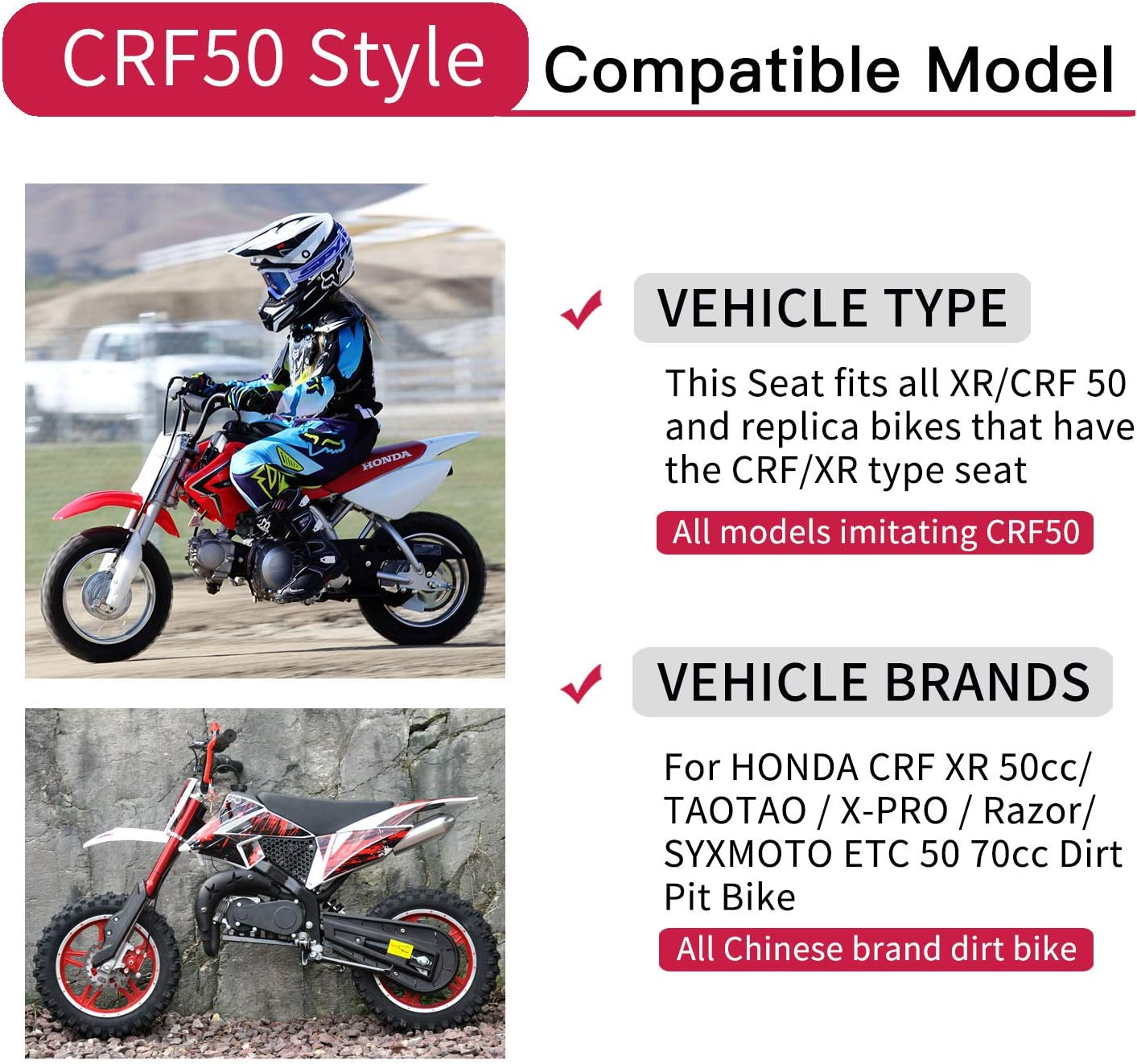 Fast Pro Motorcycle Gripper Soft Seat Cover for Honda XR//CRF 50 Chinese Pit Bikes 50 70 90 110cc