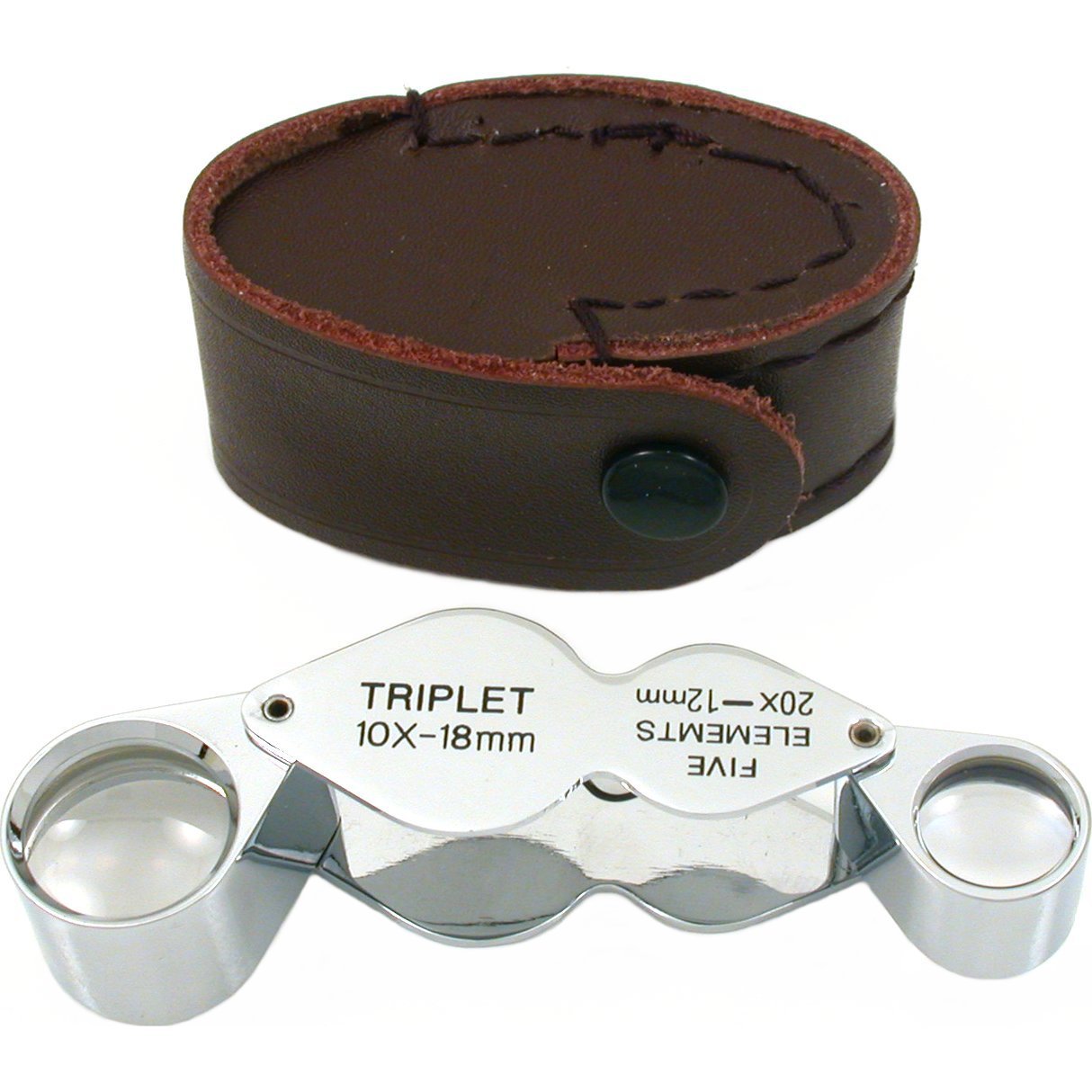 Premium Quality Jeweler's 2-in-1 Eye Loupe 10X 20X - Triplet & Five Elements - Chrome-Plated Brass Jeweler's Tools FBA_101530