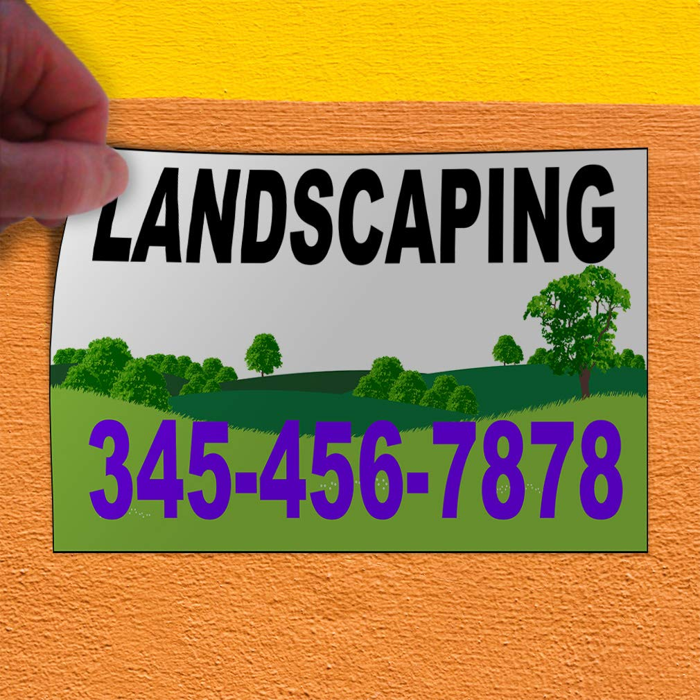 Custom Door Decals Vinyl Stickers Multiple Sizes Landscaping Phone Number Greenery Business Landscapers Outdoor Luggage /& Bumper Stickers for Cars Green 48X32Inches Set of 5