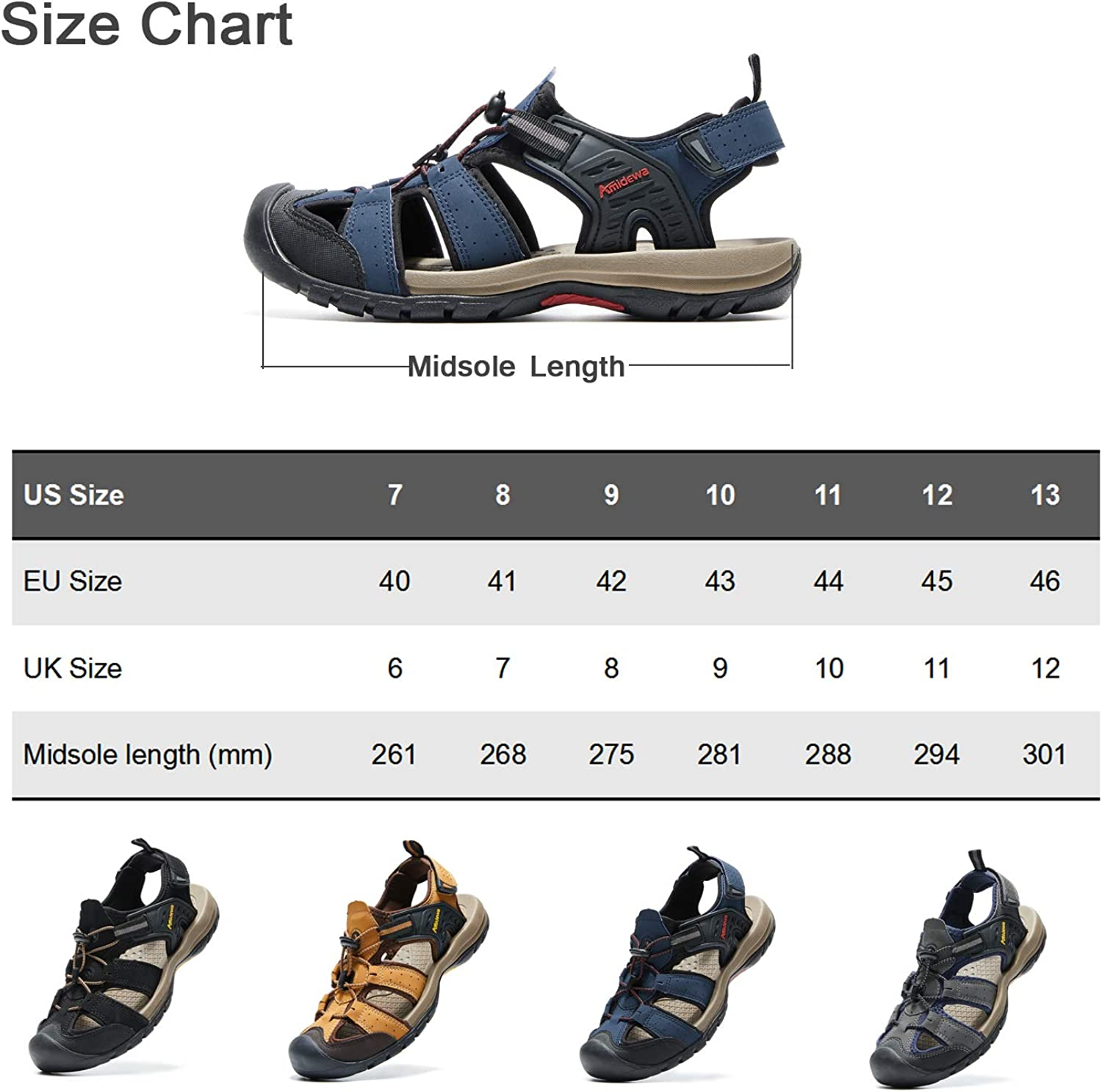 AMIDEWA Mens Sports Sandals Closed Toe Outdoor Water Shoes for Athletic Fisherman Beach Hiking Walking