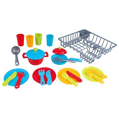 PlayGo Dish Drainer & Kitchenware 23 Pcs Toy Set for Kids Dishes & Utensils Playset | Pretend Play Kitchen Set for Kids Age 3 Years & Up: Toys & Games