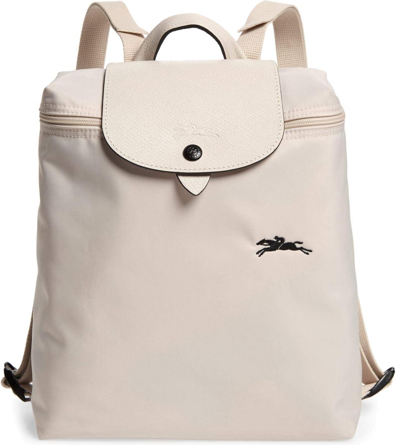 Amazon.com: Longchamp 'Le Pliage' Nylon and Leather Club Backpack ...