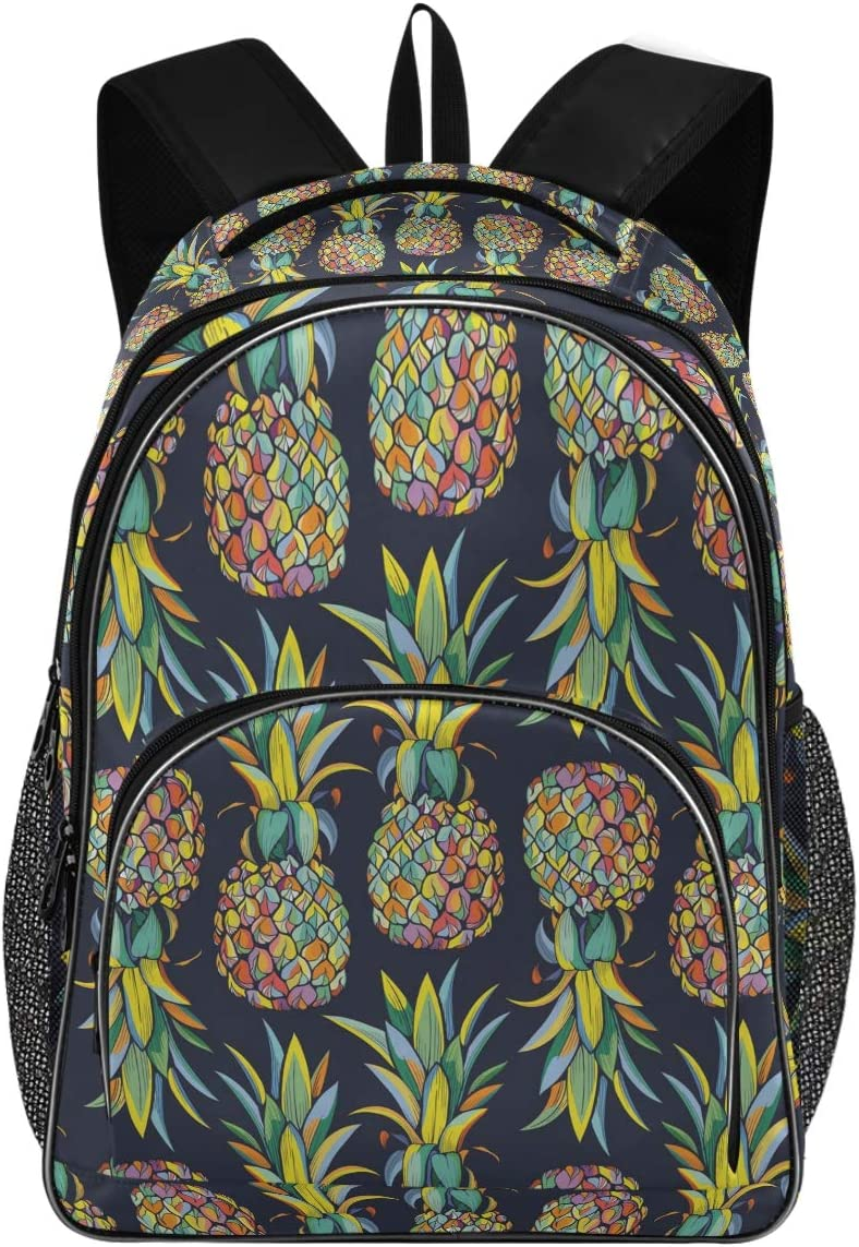 College School Laptop Backpack 15.6 Inch - Pineapples Waterproof Students Backpacks with USB Charging Port for Women Gifts