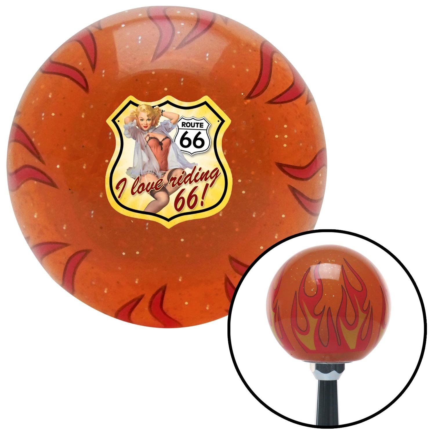 American Shifter 259070 Orange Flame Metal Flake Shift Knob with M16 x 1.5 Insert I Love Riding 66!