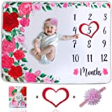 SGCUTE Milestone Blanket for Baby Girl - Super Soft Baby Monthly Milestone Blanket Girl Comes with a Cute Floral…
