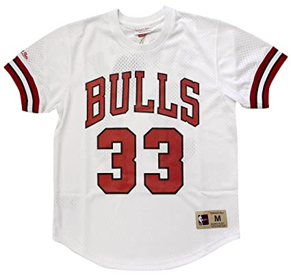 outlet store 34086 6dd6c Mitchell & Ness Scottie Pippen Chicago Bulls Mens NBA Mesh Jersey Shirt  White