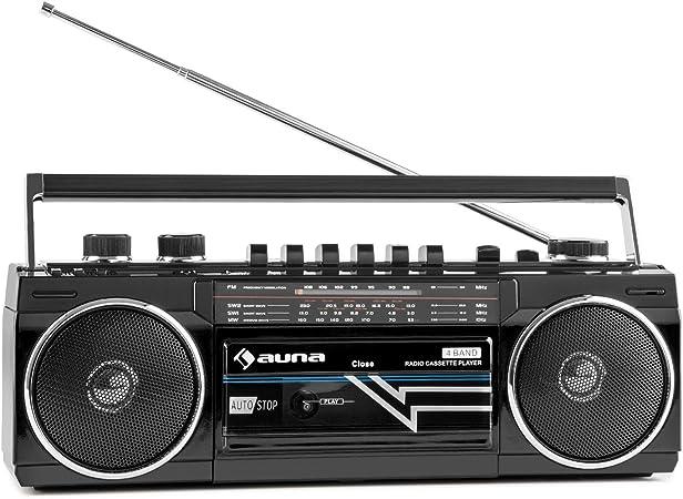 auna Duke - Minicadena , Radiocassette , Radio FM , Puerto USB Compatible con MP3 , Bluetooth , Altavoz estéreo , Regulador de bajo Independiente , ...