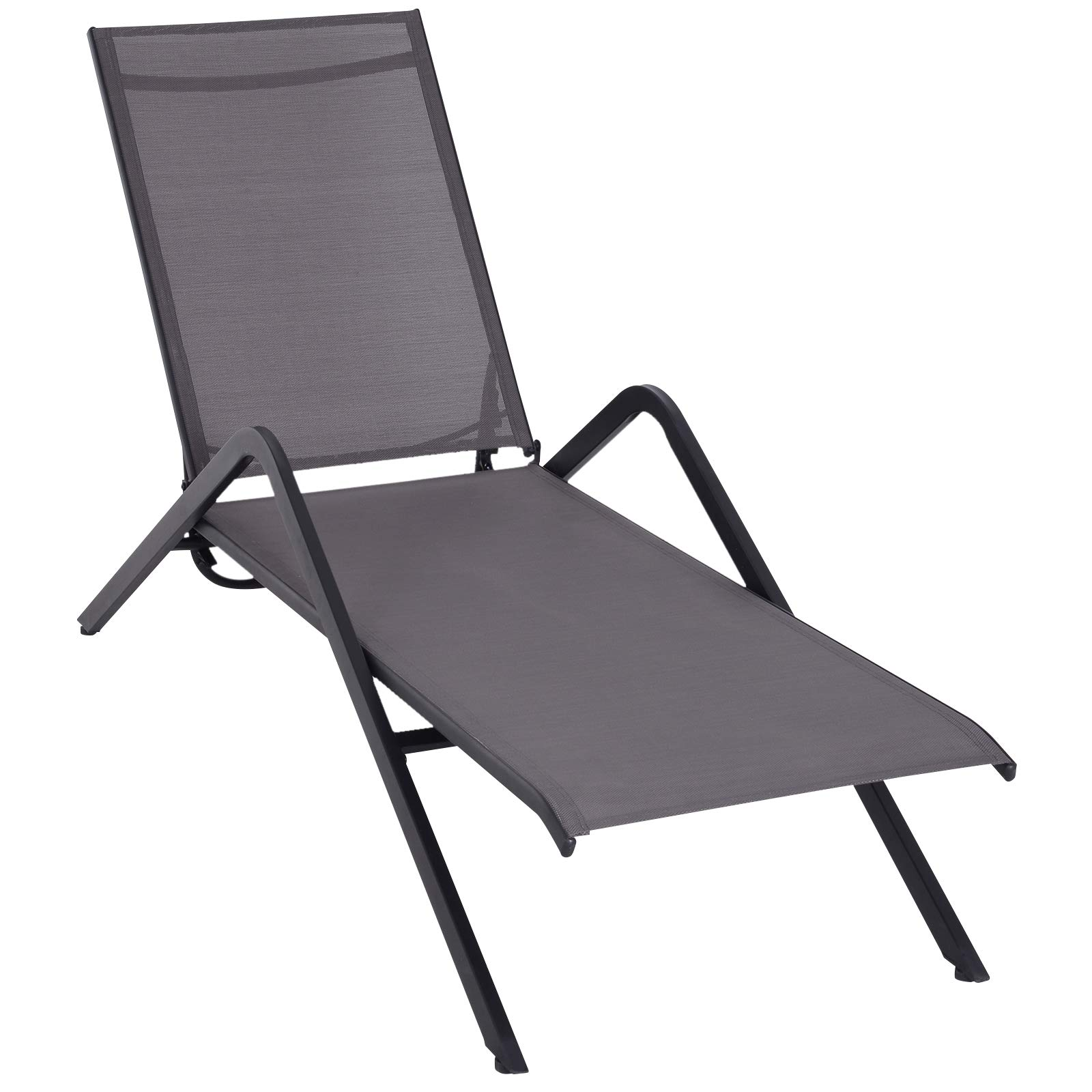 Outsunny Steel Mesh Adjustable Portable Folding Outdoor Chaise Lounge Chair - Grey by Outsunny