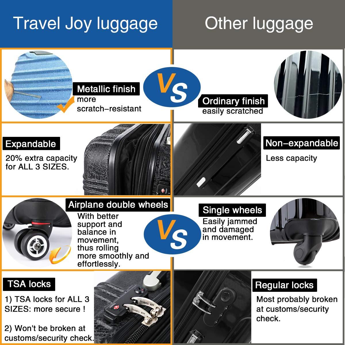 Expandable Spinner Luggage Set,TSA lightweight Hardside Luggage Sets, 20'' 24''28 inches Luggage (BLACK-1, 20 inches) by Travel Joy (Image #3)