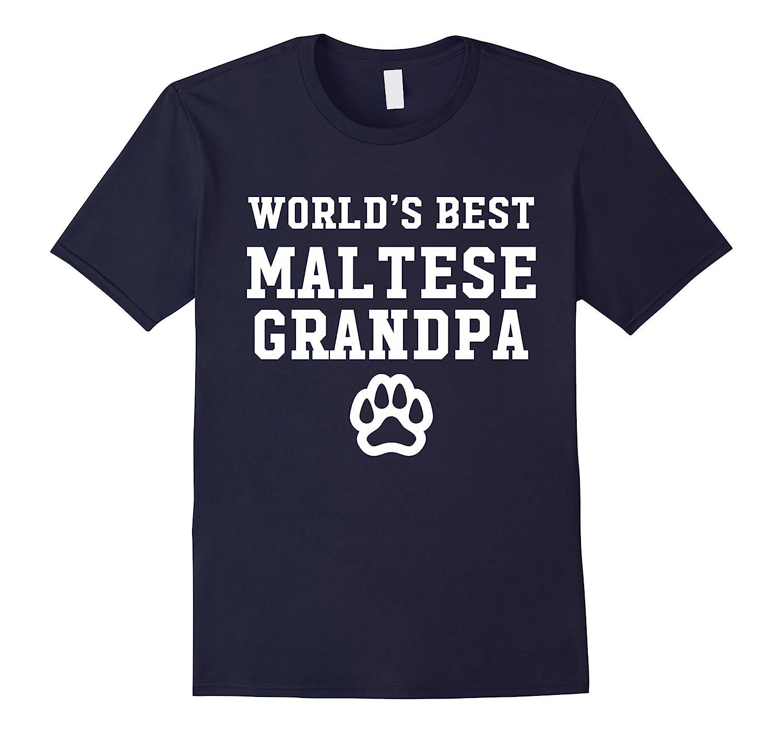 World's Best Maltese Grandpa Dog Lover Pawprint T-Shirt-BN