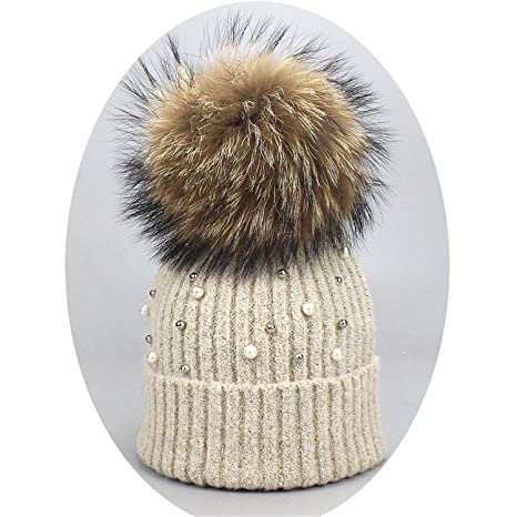 be138cfe9 Amazon.com: SexT Hats New Wool Beanies Women Real Natural Fur Pom ...