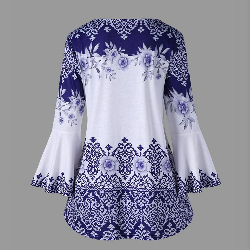 Theshy Fashion Womens Plus Size Printed Flare Sleeve Tops Blouses Keyhole T-Shirts Casual Blouses Tops