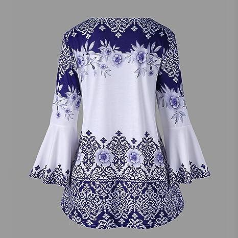 JiaMeng Blusa Mujer Camisa De Manga Larga Camisas Tallas Grandes de la Llamarada Impresa del tamaño Extra Grande de la Manera Blusas Camisetas del Ojo de la ...