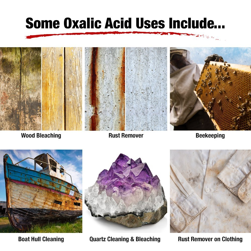 FDC 99 6% PURE OXALIC ACID Powder C2H2O4 (Ethanedioic Acid Dihydrate) Rust  Remover, Bleaching Agent, Wood Stain Remover & More!