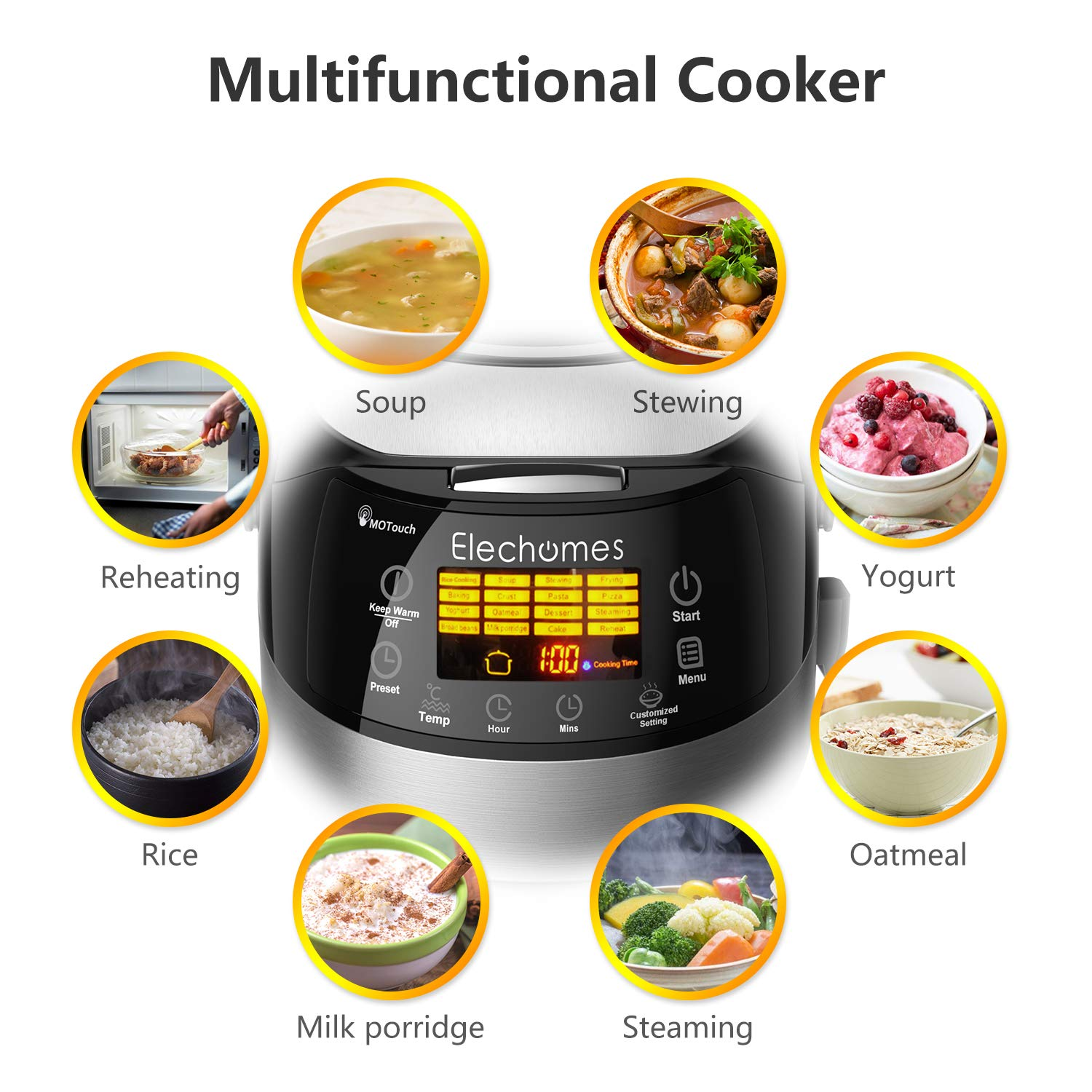 Elechomes LED Touch Control Rice Cooker, 16-in-1 Multi-function Cooker, 10-Cups Uncooked Warmer Cooker with Steam & Rinse Basket, CR502 by Elechomes (Image #3)