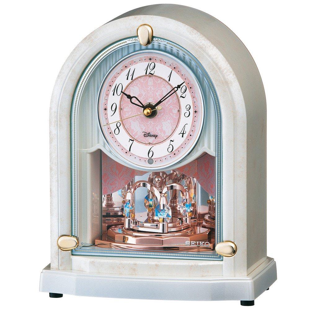 セイコー クロック 置き時計 ディズニーPRINCESSプリンセス 電波 アナログ 6曲 メロディ 大人ディズニー 白マーブル FS201W SEIKO B00HS9OV88