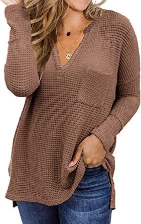Womens Pullover V Neck Winter Sweater Tops Long Sleeve Loose Warm Casual Blouse