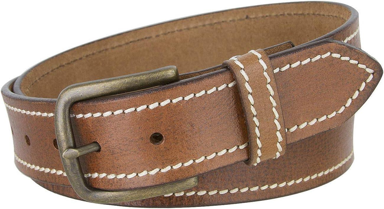 Tan Color New Virginia Mens Casual 1 Piece Full Grain Leather Belt 1 1//2 Wide