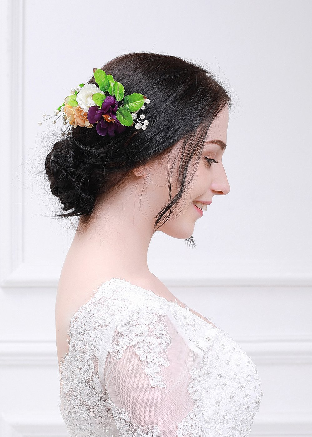 2ab6a5b74656 Amazon.com   Kercisbeauty Lvory Burgundy Hair Comb for Girl Flower Comb for  Women Flower for Hair Spring Wedding Romantic Hair Comb Bride Hair Comb  Spring ...