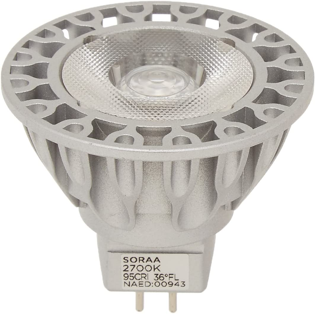 Bulbrite SM16-07-25D-927-03 SORAA 7.5W LED MR16 2700K VIVID3 25/° DIM Silver