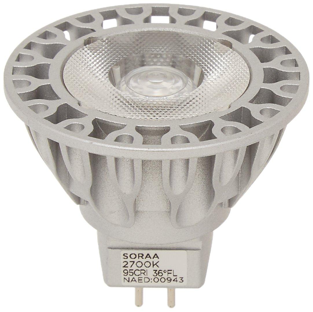 Bulbrite SM16 07 36D 927 03 SORAA 7.5W LED MR16 2700K VIVID3 36° Dimmable Light Bulb Silver