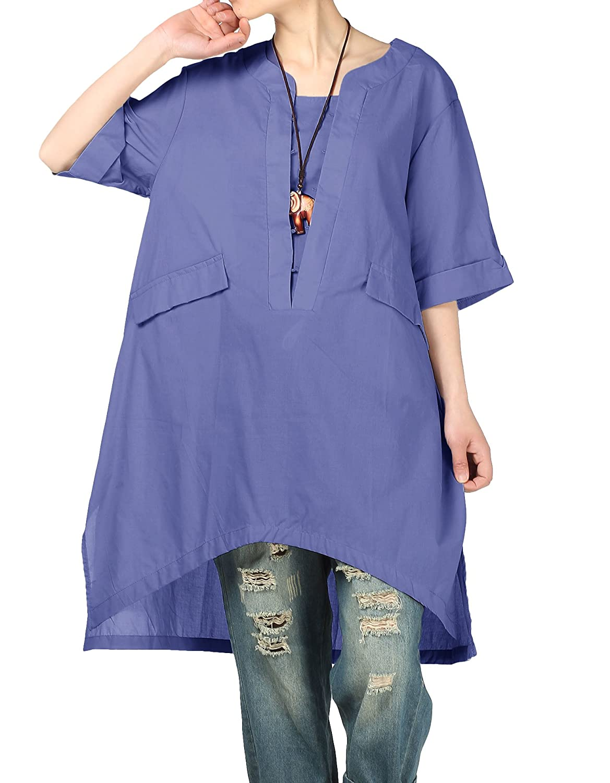 mordenmissレディース新しい夏サイドスリットシャツ高低のブラウスポケット付き B07F2BT2NR  ネイビーブルー XXXL