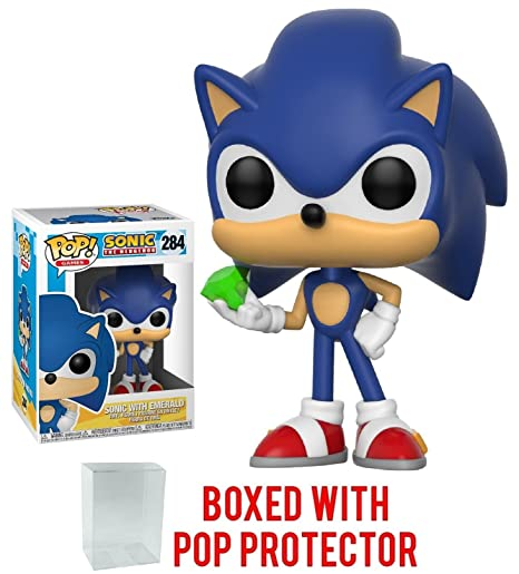 d3be8392b28 Amazon.com  Funko Pop! Games  Sonic The Hedgehog - Sonic with Emerald Vinyl  Figure (Bundled with Pop BOX PROTECTOR CASE)  Toys   Games