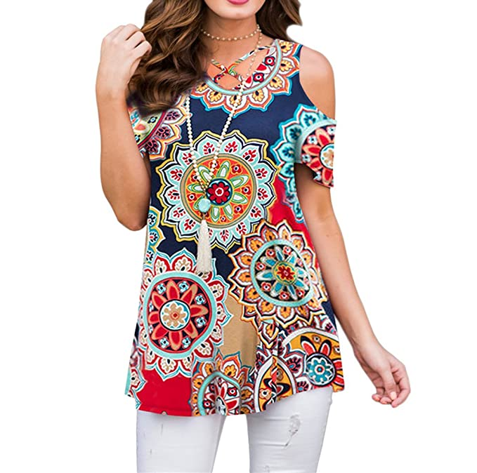 f8c1bef5c4532 ZZER Women s Casual Floral Cold Shoulder Tunic Tops V-Neck Criss Cross Tee  Shirts Loose