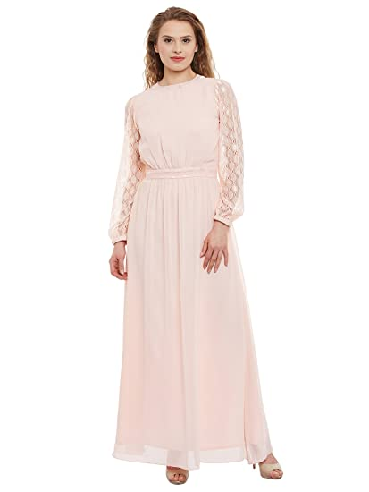 773ce26f495d Athena Women's Peach Polyester Maxi Maxi Dress: Amazon.in: Clothing ...