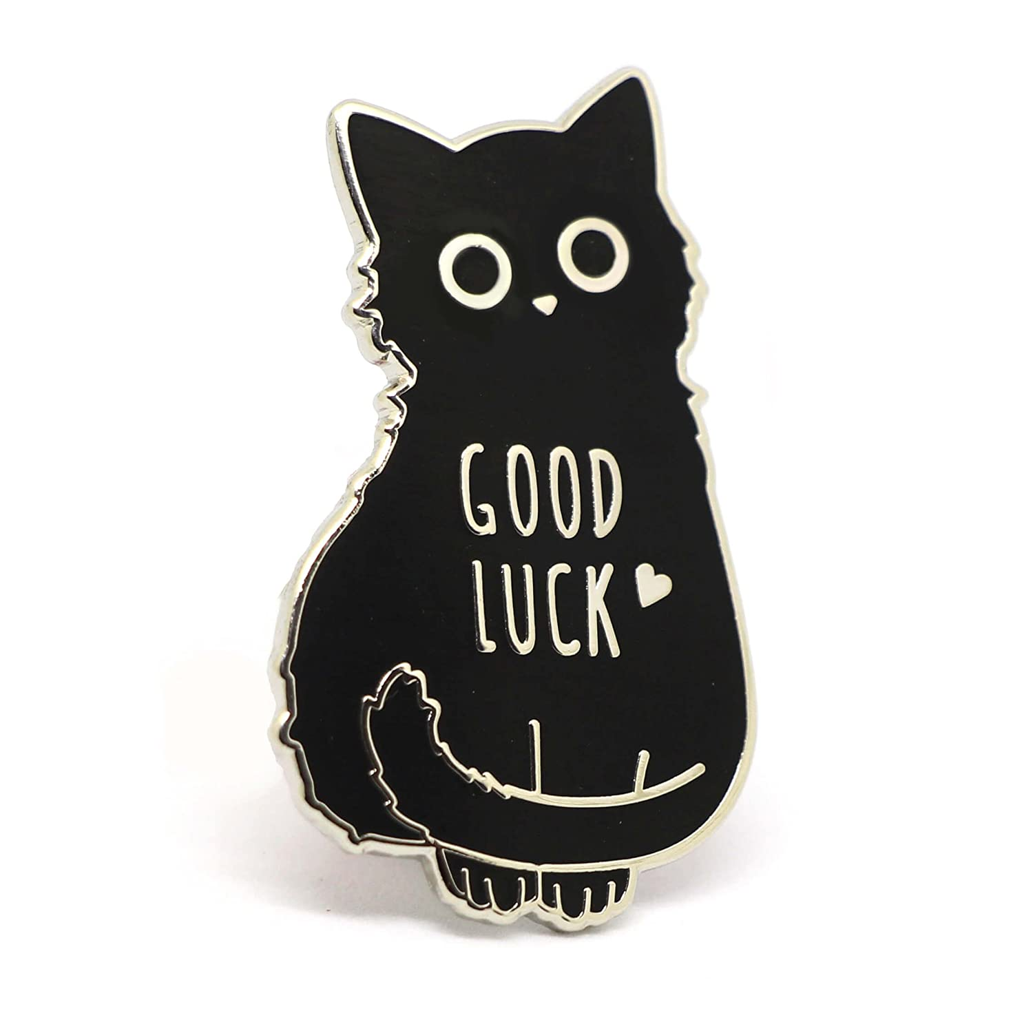 Compoco Cat Enamel Pin Black Cat Lapel Pin Good Luck Lucky Charm Pin A40