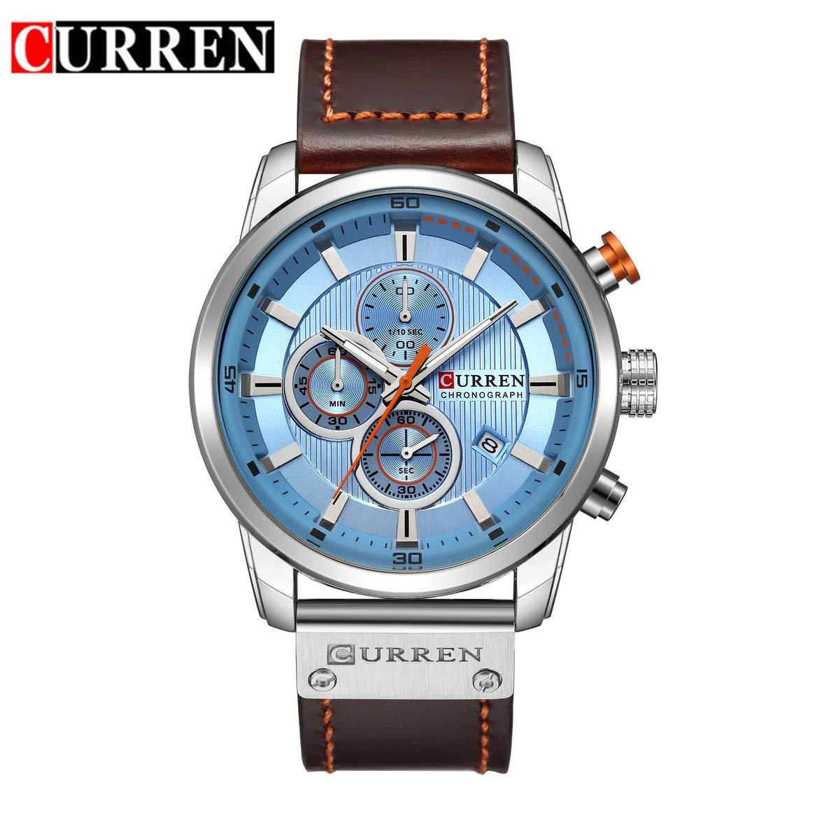 Kongqiabonaカレン8291高級男性レザーバンドストラップ腕時計ハイクラス男性男性機械的なレロジオmasculino時計ギフト B07L3BXJ5N 白 ブルーダイヤル