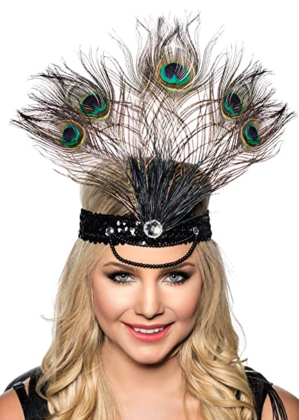 2b39130e3cf7b Amazon.com  Elevate Costumes Tall Peacock Feather Showgirl Headpiece   Clothing