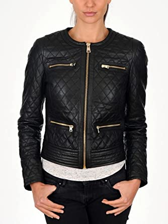 DIB Leather Womens Lambskin Leather Bomber Biker Jacket