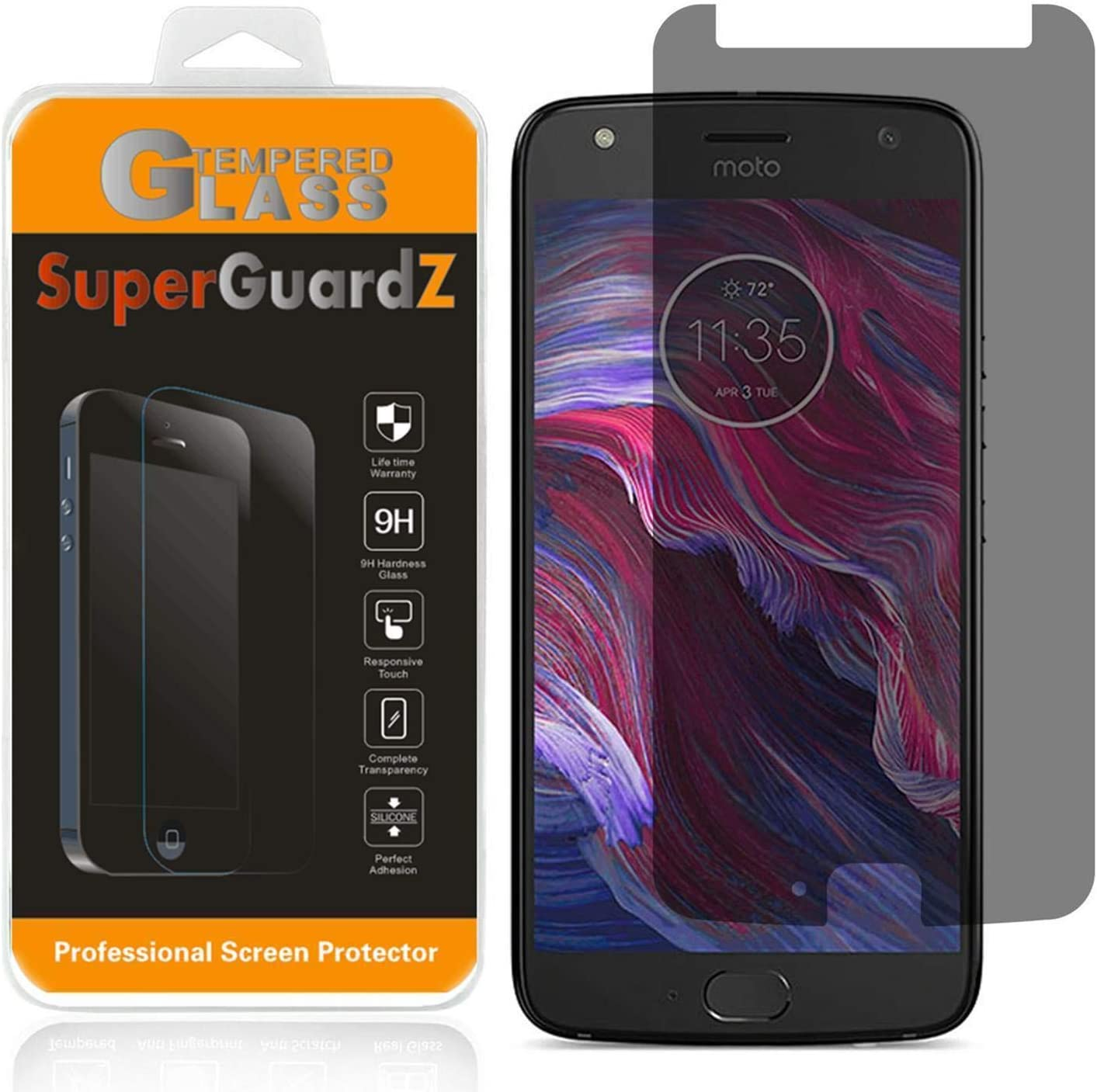 for Motorola Moto X4 Tempered Glass Screen Protector [Privacy Anti-Spy], SuperGuardZ, 9H Anti-Scratch, 2.5D Round Edge, Anti-Bubble [Lifetime Replacements]