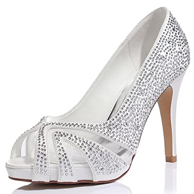 LUXVEER Satin Bridal Shoes With Silver Rhinestone Medium Heel 4inch Peep Toe Ivory
