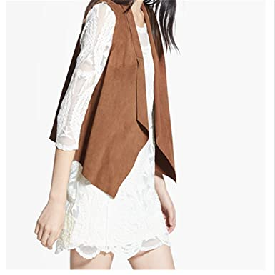 Penin Brown Suede Solid Turn Down Collar Fashion New Sleeveless Jacket Vests Of Women Autumn Sumer