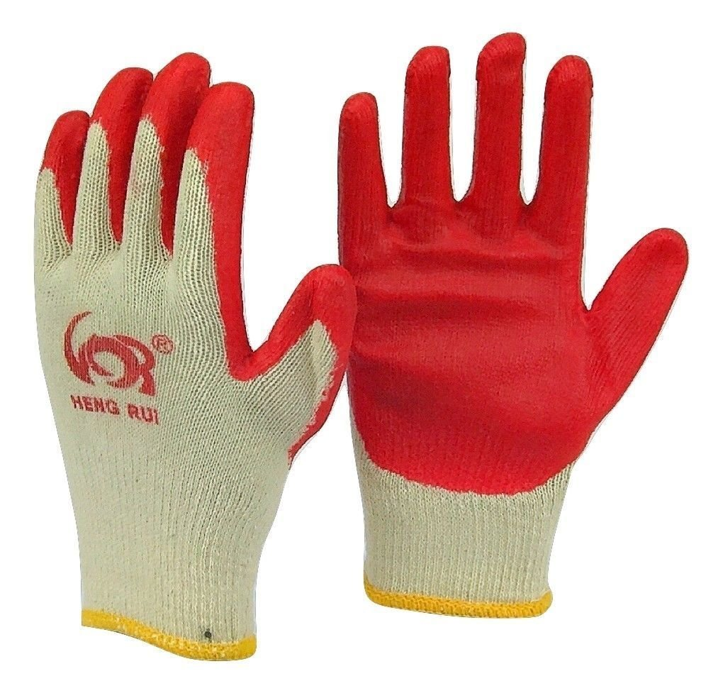 240 pairs Wholesale Heng Rui Premium Red latex Palm coated cotton Grip glove by Heng Rui (Image #2)