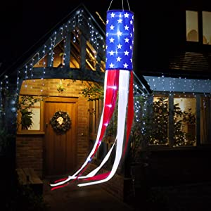 American Flag Windsock US Stars and Stripes Windsock Star Hanging Windsocks Decoration with LED Lights for 4th of July Party Decoration Outdoor Yard Patio Garden Pathway (1)