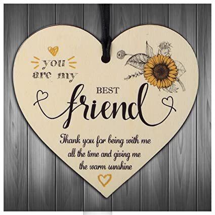 Friendship Like Sunshine Wood Heart Sign Best Friend Gift Thank You Birthday Home, Furniture & DIY Plaques & Signs