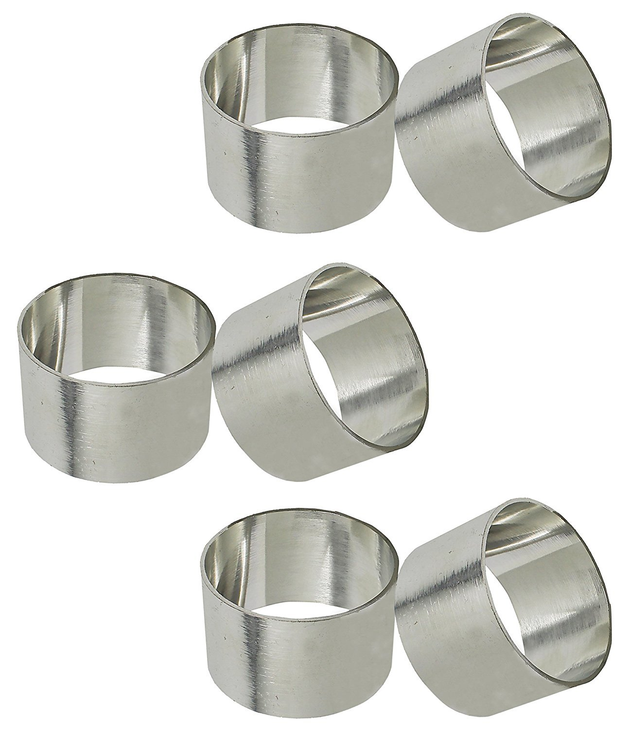 worldexplorer Basic Everyday Napkin Rings for Place Settings, Wedding Receptions, Dinner or Holiday Parties, Family Gatherings (Set of 6), Plane Silver