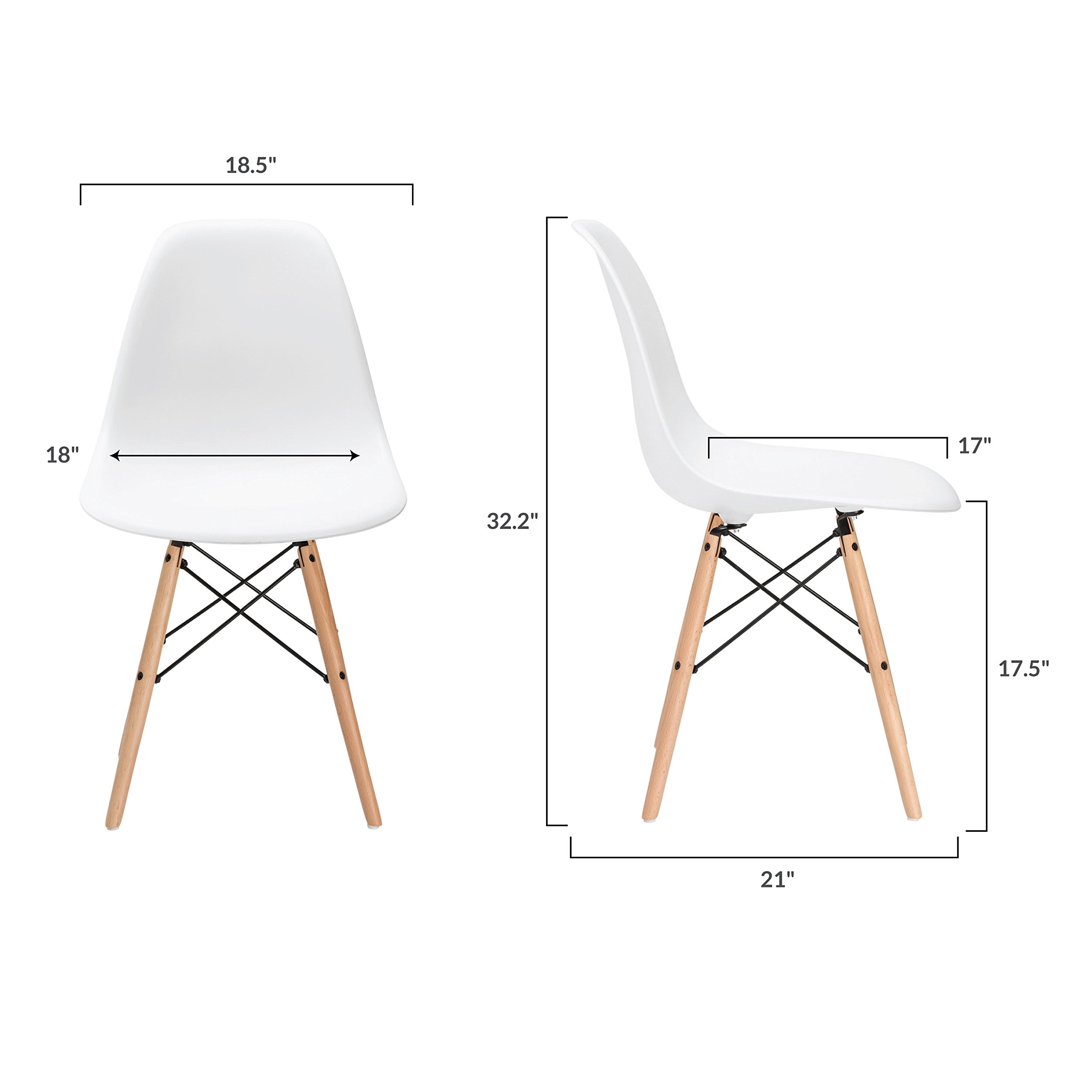 Poly and Bark Vortex Side Chair, White, Set of 2 by Poly and Bark (Image #6)