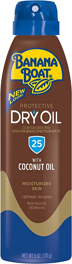 Banana Boat Protective Dry Oil Reef Friendly Sunscreen Spray with Coconut Oil, Broad Spectrum SPF 25, 6 Ounces - Pack of 3