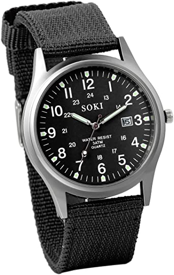 Reloj de Hombre Correa de Nylon Reloj Militar Deportivo, Verde Reloj de Piloto Ligero Reloj de Cuarzo Japonés, Reloj con Calendario, Luminoso, Reloj de Negocio Causal, Regalo Navidad, Avaner (Negro): Amazon.es: Relojes