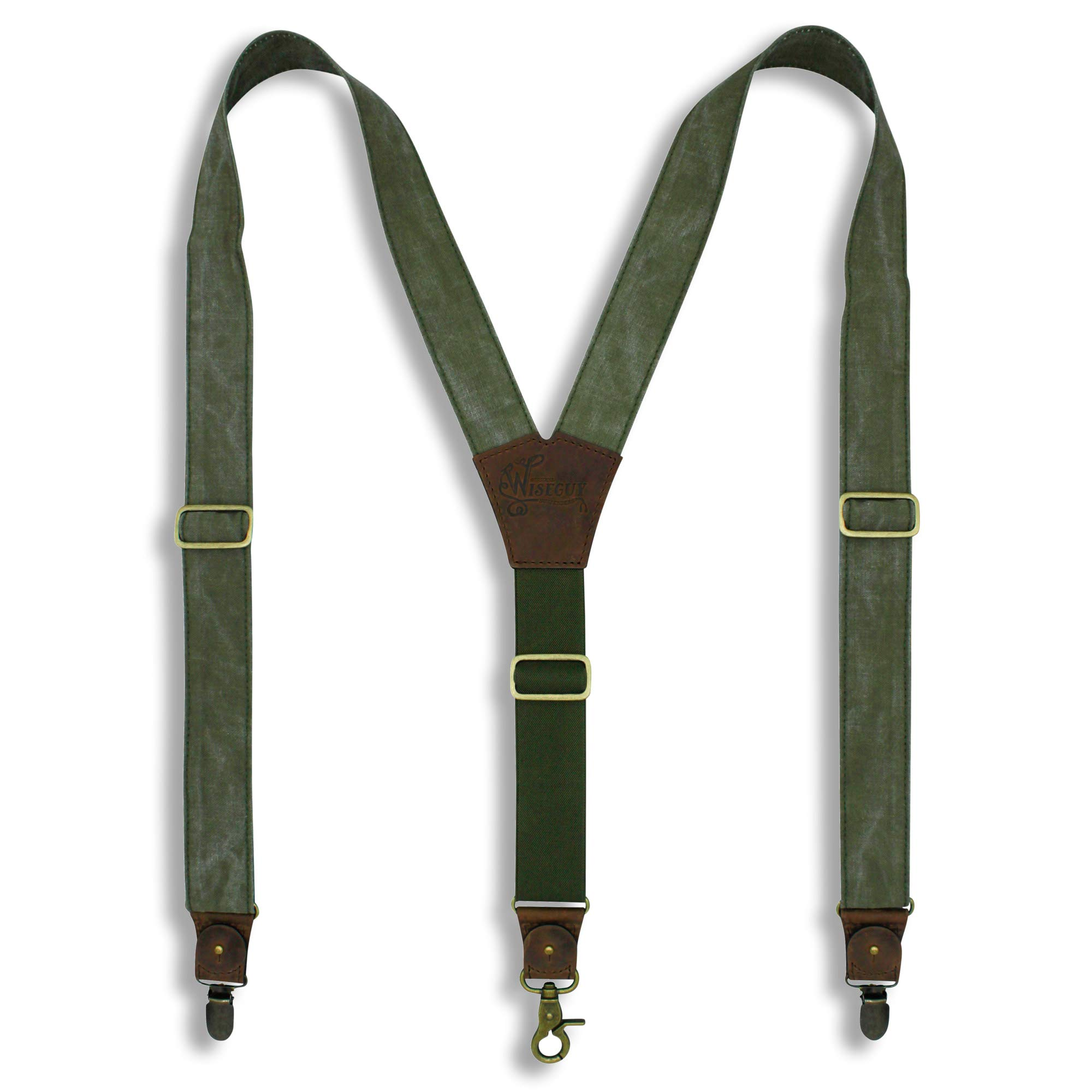 Wiseguy Army Canvas Salvaged Suspenders with elastic Y-shape Back Strap 1.36 inch/3.5 cm wide